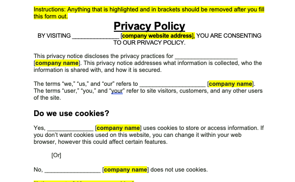 privacy policy preview